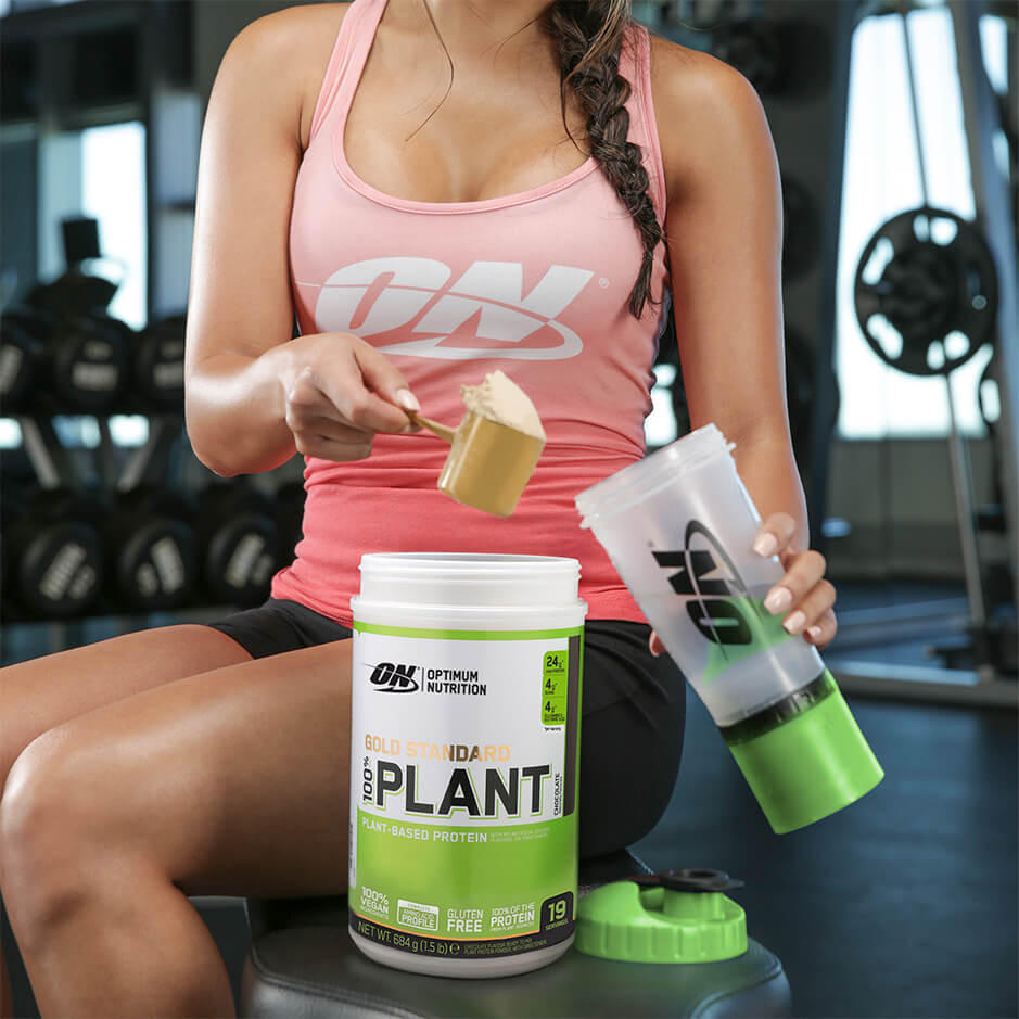 Girl get fits with a high quality plant-based protein powder