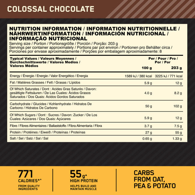 Gold Standard Gainer Nutritional Information 1