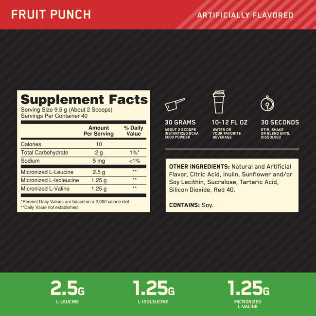 BCAA 5000 Nutritional Information 1