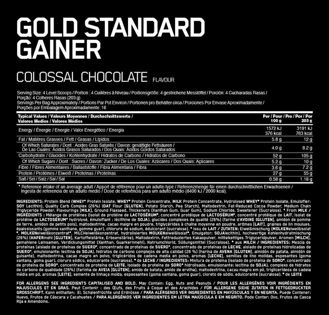 Gold Standard Gainer Elite Nutritional Information 1