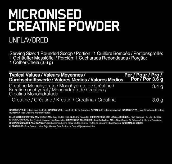 Creatine Powder Elite Nutritional Information 1