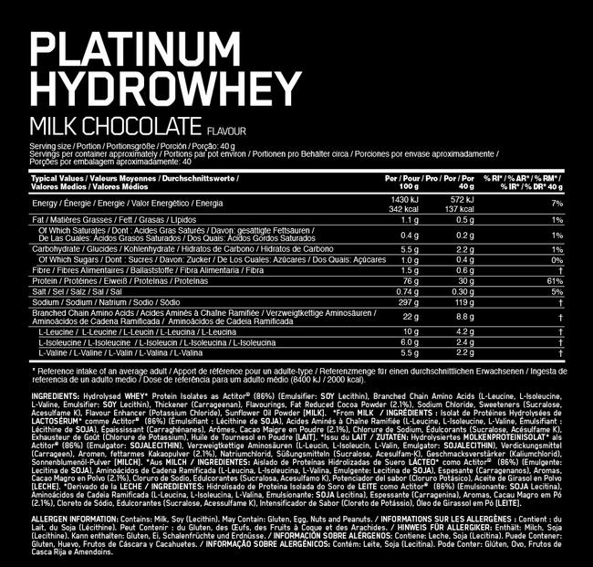 Platinum Hydrowhey Elite Nutritional Information 1