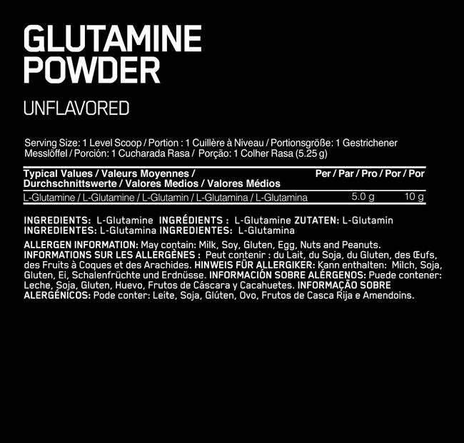 Glutamine Powder Elite Nutritional Information 1