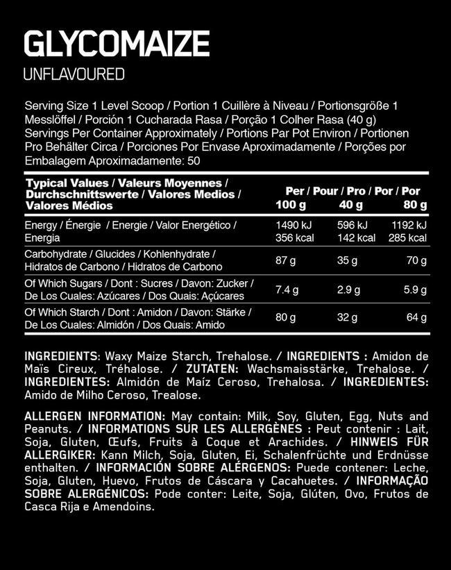 Glycomaize Elite Nutritional Information 1