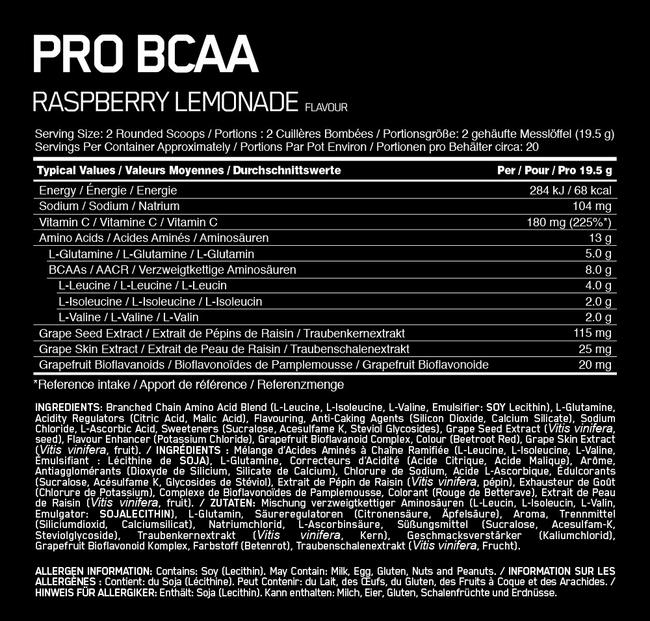 Pro BCAA Elite Nutritional Information 1