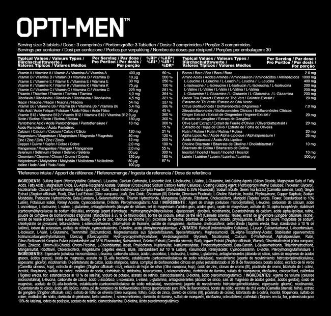 Opti–Men Elite Nutritional Information 1
