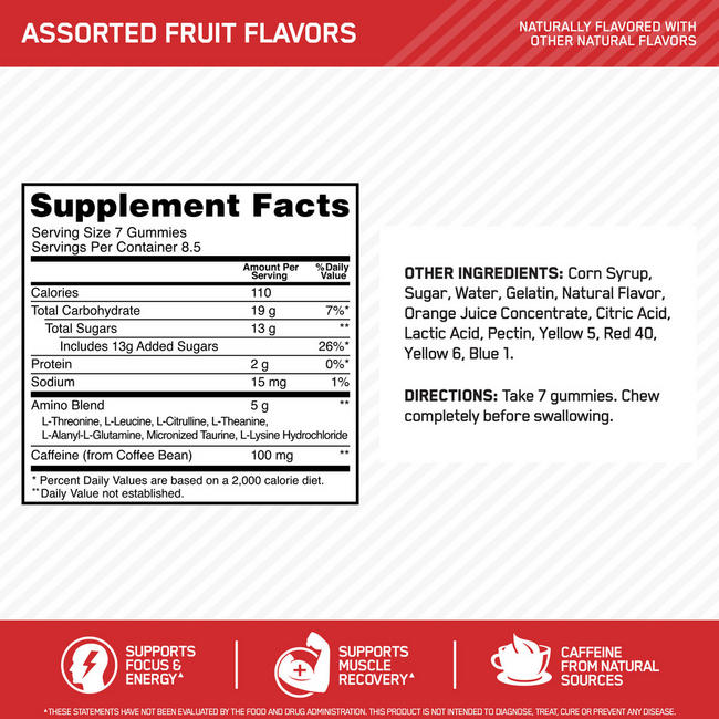 ESSENTIAL AMIN.O.ENERGY GUMMIES  Nutritional Information 1
