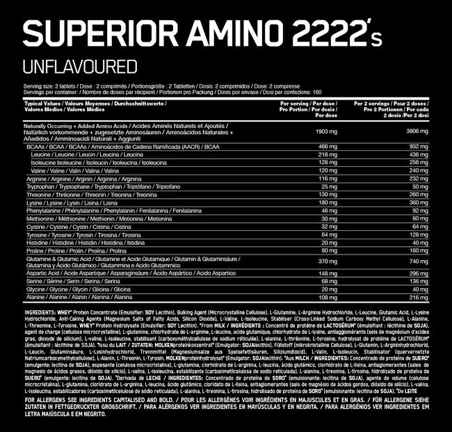 Amino Superior 2222 Nutritional Information 1