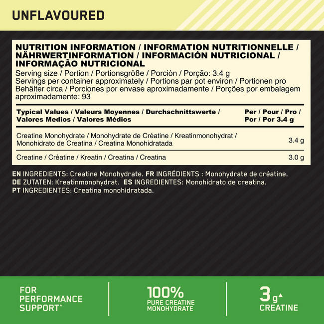 Creatine (Micronised) Nutritional Information 1