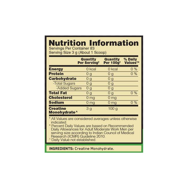 Micronised Creatine Powder Nutritional Information 1