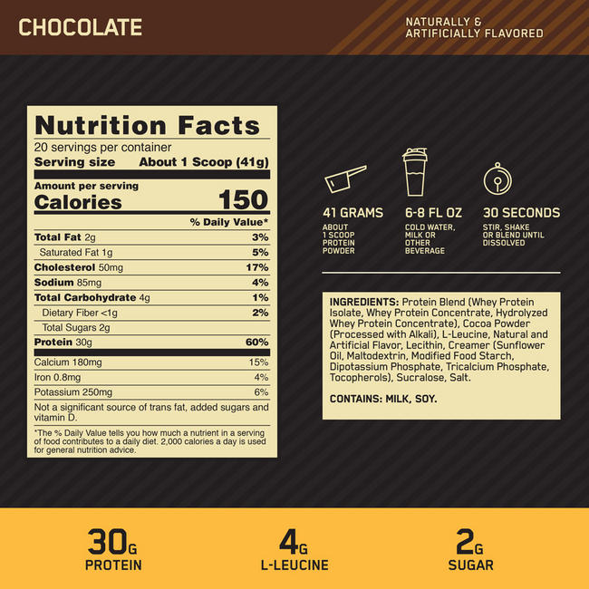 GOLD STANDARD FIT 40 MUSCLE RECOVERY PROTEIN Nutritional Information 1