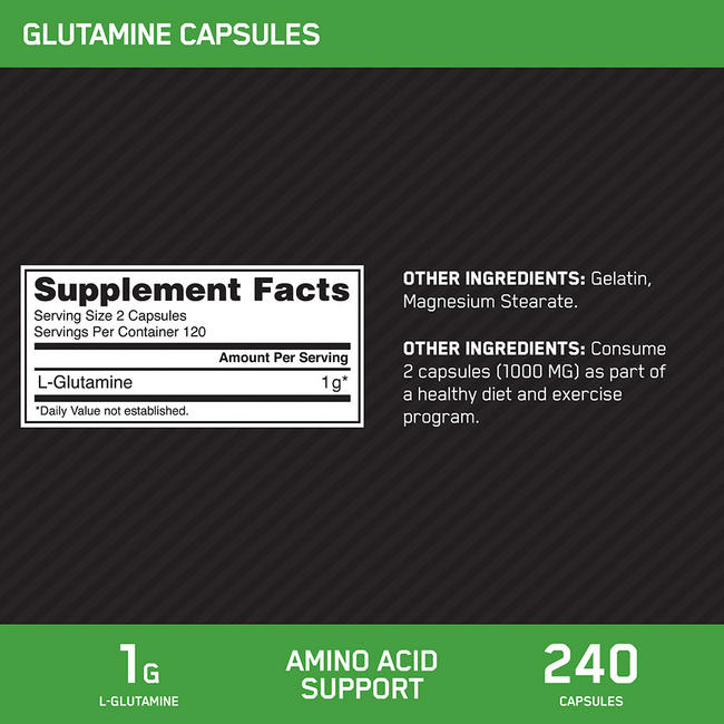 GLUTAMINE CAPS Nutritional Information 1