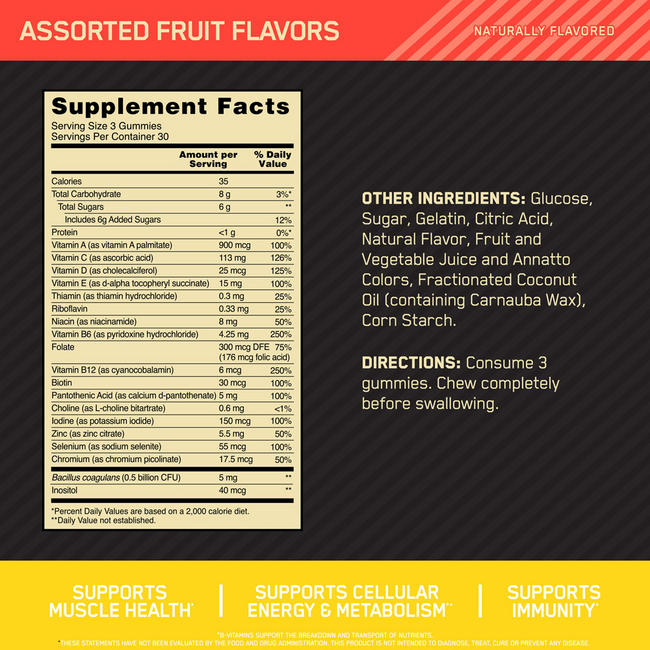 OPTI-MEN MULTI + PROBIOTIC GUMMIES Nutritional Information 1