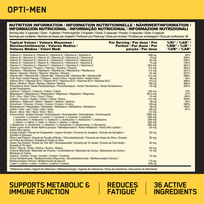 Opti-Men Nutritional Information 1