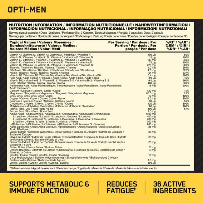 オプティ – メン Nutritional Information 1