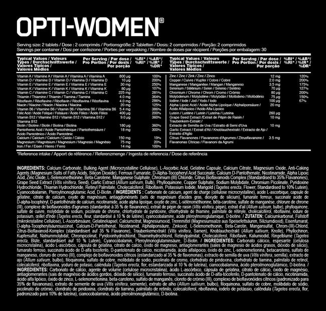 Opti-Women Nutritional Information 1
