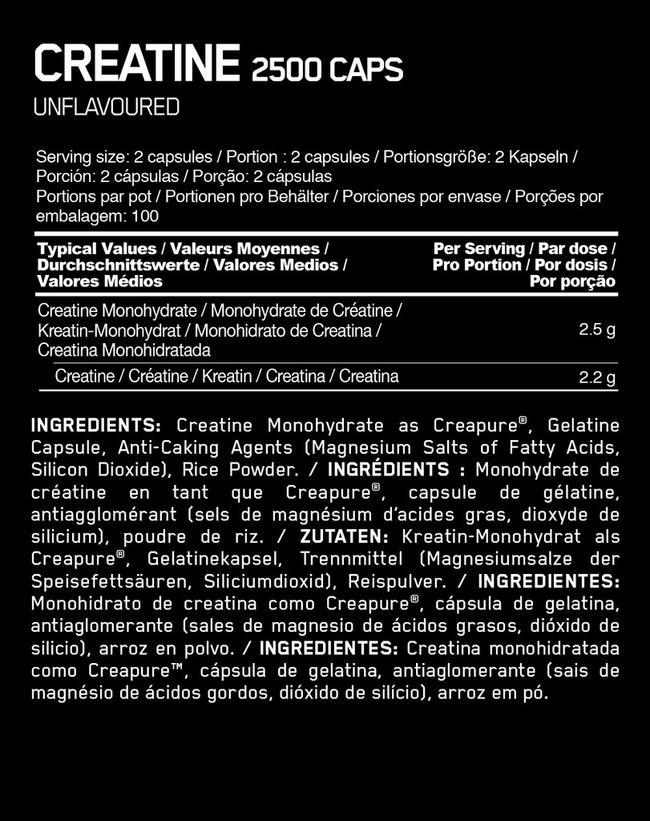 Creatine 2500 Caps Nutritional Information 1